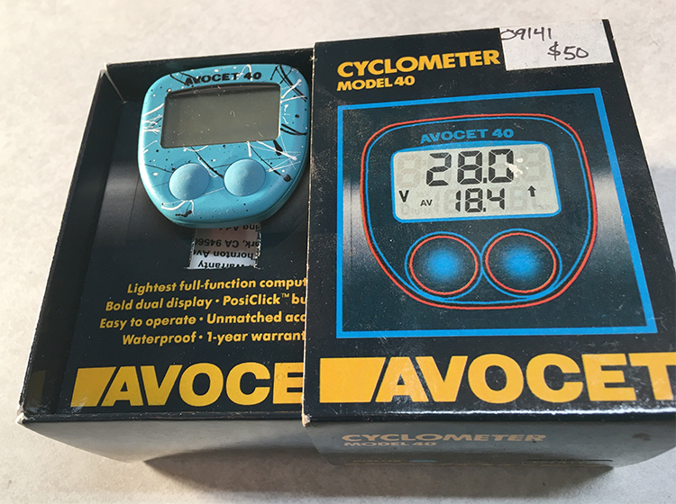 Avocet blue-white cyclometer