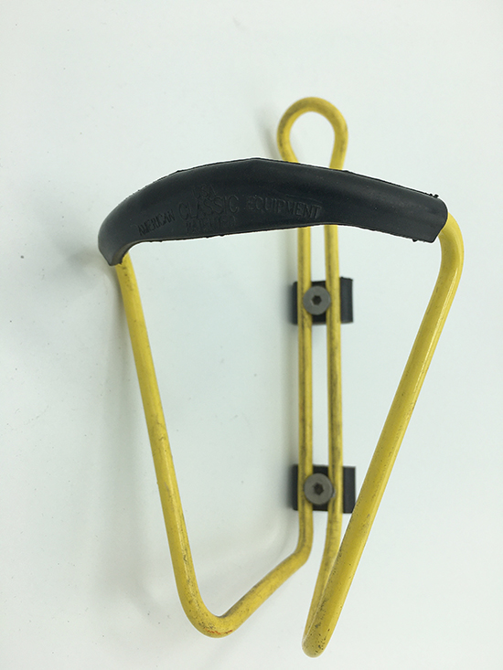 American Classic yellow water bottle cage