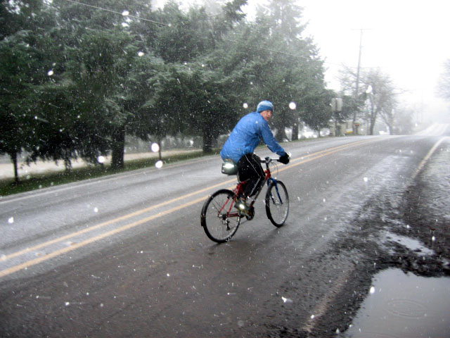Snowy road with rider