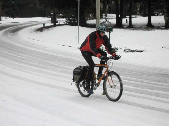 Mike on snow bike